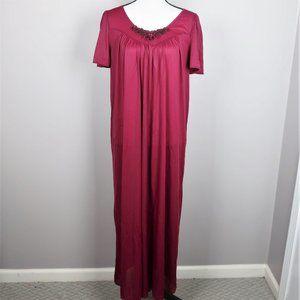 VTG Vanity Fair Wine Colored Long Nightgown Sz M